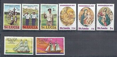 1976 - 77 St Lucia MLH Stamps Boy Scouts - Christmas - 8 Mint LH Stamps