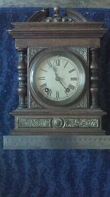 Antique  LENZKIRCH Oak Bracket Mantel Clock : WORKING