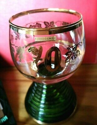 Vintage Reuge Swiss Musical Movement crystal wine cup gold 70 hand-painted