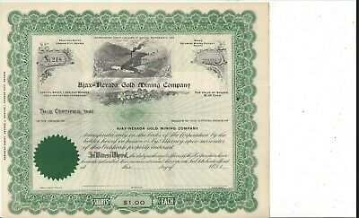 Ajax-Nevada Gold Mining Company......unissued Common Stock Certificate