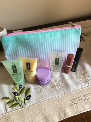 BNWT Lovely Clinique Gift Set Make Up Bag + 6 items travel sample size