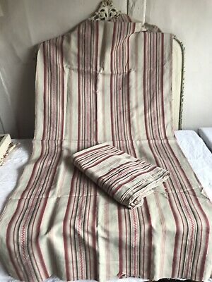Antique French Ticking Red Black Brown Fabric Vintage Cotton Panels Projects 1pc
