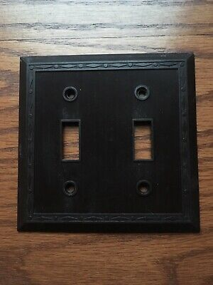 Vintage Leviton Bakelite Brown Two Gang Toggle Switch Plate Dot Diamond Border