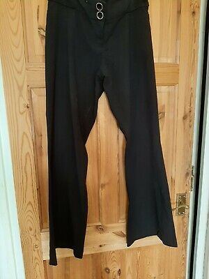 New Look Maternity black smart flared trousers size 10 under bump with adj waist
