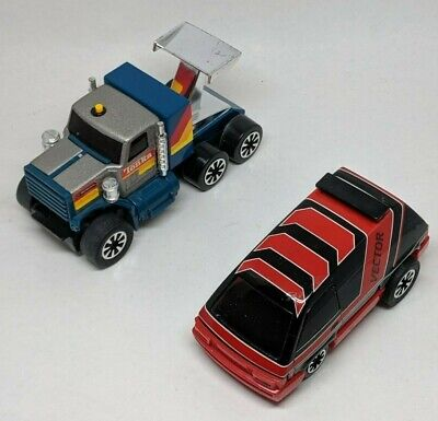 TWO VINTAGE TONKA Vehicles Vector 1984 Tractor Trailer Cab Pull Back Toy