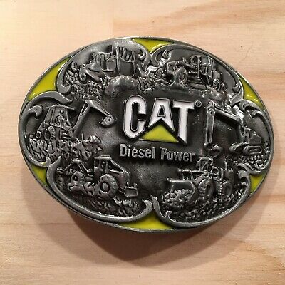 """CAT CONSTRUCTION """"Silver"""" Awesome Mens Metal Belt Buckle Accessory **NEW**"""