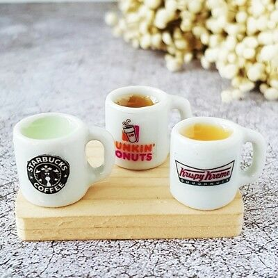 Mix Hot Coffee Green Tea Ceramic Cup Dollhouse Miniatures Drink Beverage Supply