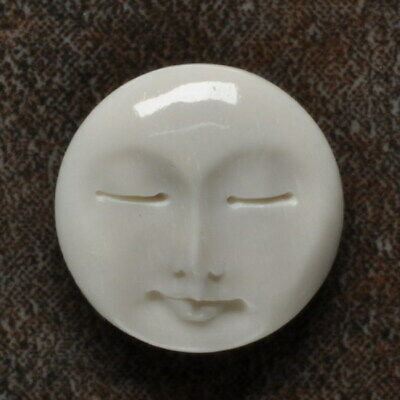 Hand Carved Round Moonface Natural Buffalo Bone Cabochon Cab 18X18X2Mm