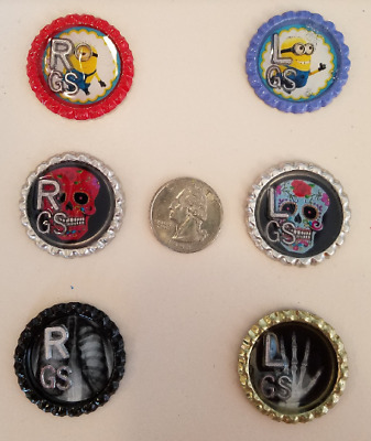 Three sets bottle cap xray markers with Initials