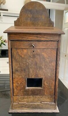 Antique Oak Church collection Box/Suggestion/Letter/Prayer c1890 (Locking)
