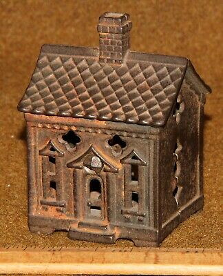 Vintage Cast Iron Still Bank Victorian House J.E. Stevens 3""