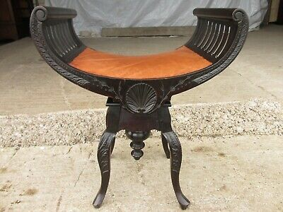 Unusual Victorian carved oak swivel piano / music stool (ref 687)