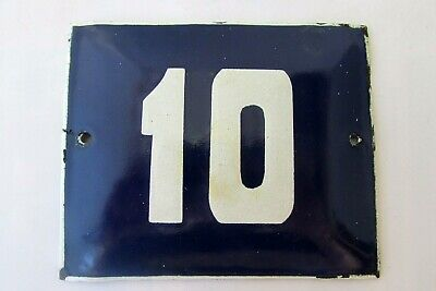 Vintage Enamel Porcelain Sign House Door Number 10 Classical Cobalt Blue