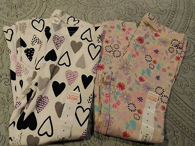 NWT 2 Girls size 4 Leggings Jumping Beans Flowers & Hearts  -710