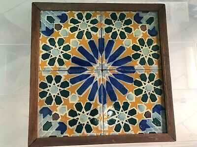 19th Century Azulejos Antique Portuguese Set of 4 Glazed Ceramic Building Tiles