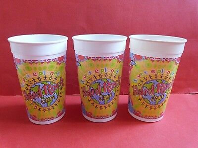 VINTAGE HARD ROCK CAFE PEPSI SAVE THE PLANET X3 HARD PLASTIC CUPS * 1990s * RARE