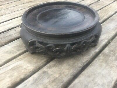 ANTIQUE CHINESE  HARDWOOD STAND 160mm DIAMETER 53mm HIGH