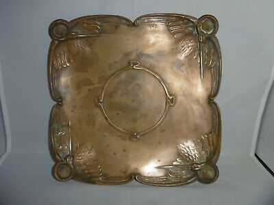 Superb quality French Art Nouveau solid bronze tray. Storks, signed Friés, c1890