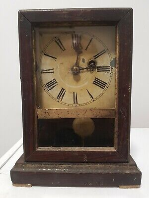 Antique clock mantel pendulum moving parts wind up mechanism clock wall wooden