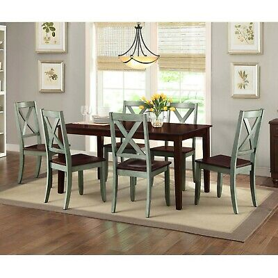 DINING ROOM SET Farmhouse Kitchen Tables And Chairs Six Seat ...