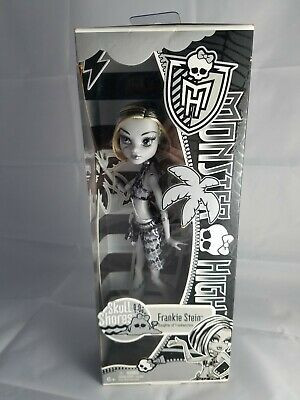 New Monster High Skull Shores Frankie Stein Doll Black & White New In Box