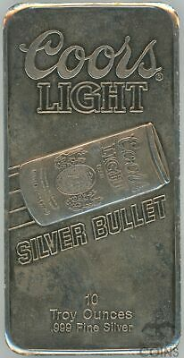 Sunshine Mining Coors Light 10 Troy oz Fine Silver .999 Silver Bullet Bar