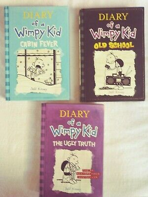Diary Of A Wimpy Kid 3 Book Lot - HC- Old School,The Ugly Truth,Cabin Fever