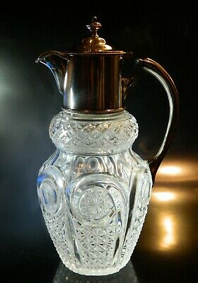 Antique English CUT GLASS PITCHER w Silverplate Wm. HUTTON & Sons Top NICE