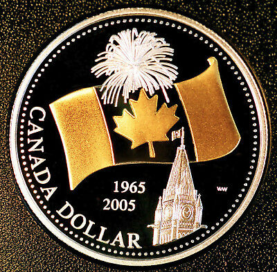 2005 Canada 40th anniversary of Canada FLAG dollar gold plated silver