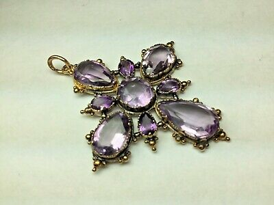 Rare!  Victorian Georgian Large Real Amethyst 14K gold Cross Pendant