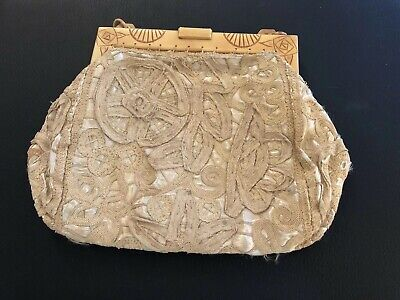 Vintage Antique Chinese Lace Hand Embroidered Purse Clutch Handbag CARVED CLASP