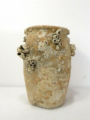 Antique SHIPWRECK SALVAGE POTTERY VASE W/ BARNACLES Ceramic Art Pot OLD ARTIFACT
