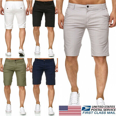 Men's Slim Fit Stretch Flat Front Summer Casual Solid Color Shorts Pants Jeans