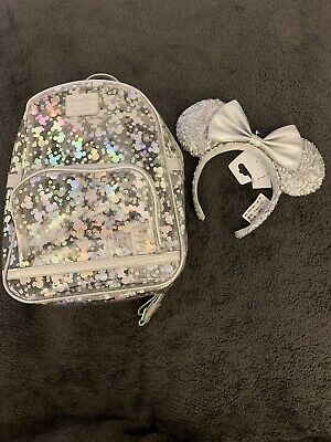 Disney Parks Magic Mirror Mickey Mouse Loungefly Backpack And Ears ~ NWT
