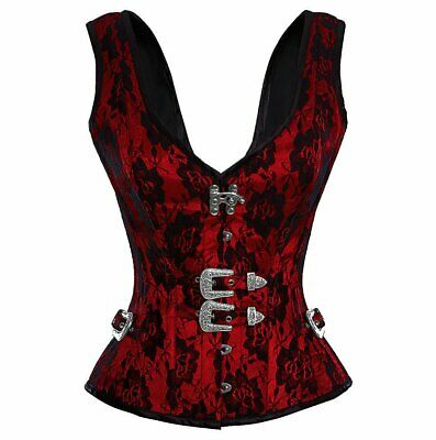 Red Satin Net Covered Shoulder Strap Basque Steel Boned Overbust Corset Costume
