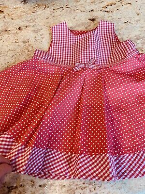 MOTHERCARE BABY GIRLS RED SPOTTY COTTON DRESS 0-3 Months