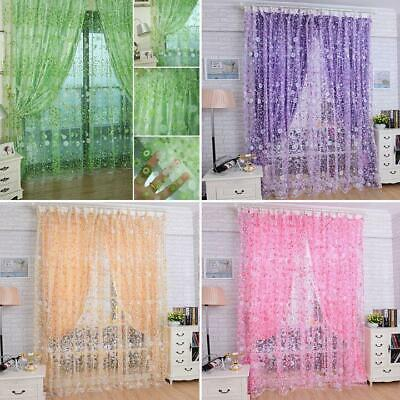 Straight Base Net Voile Curtains With Slot Top Floral Design Sheer Tulle Window