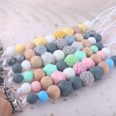 Wood Pacifier Clips Silicone Beads Dummy Chain BPA Free Holder Teething Soothers