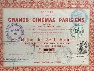 Action 100 Frs : Sté des Grands CINEMAS PARISIENS-  1912