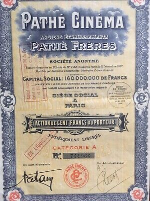 "Action ""PATHE CINEMA  "" - 100 Frs au Porteur - 1930"
