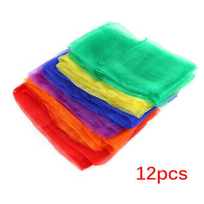 12Pcs Square Dance Scarves, Juggling Scarf PropsTrick Silk Scarves Kids Party