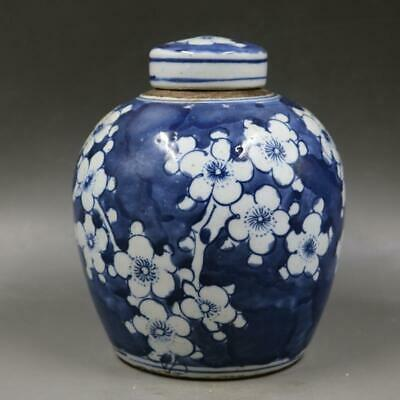 Chinese ancient antique hand make Blue and white Ice plum pattern tea leaf can