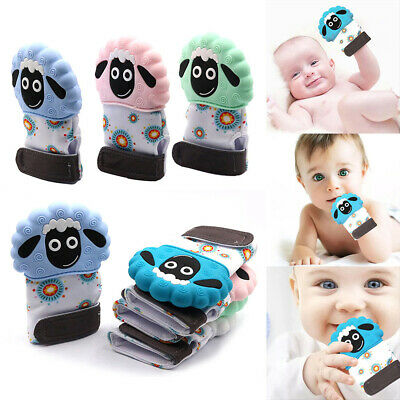 Silicone Lamb Baby Teether Glove Teething Mitt Mitten Gloves Chew Dummy Toy UK