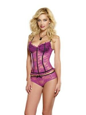 Dreamgirl Orchid and Black Corset and Brief Set, Size XL, 14-16