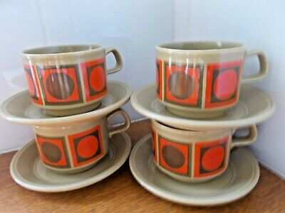 Vintage Cups and saucers Geometric pattern