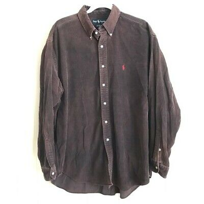 VTG 90s Ralph Lauren Mens Size XL BLAIRE Faded Distressed Corduroy Casual Shirt