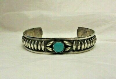 Vintage Sterling Silver w/ Turquoise Stone 925 Cuff Bracelet Ornate Design