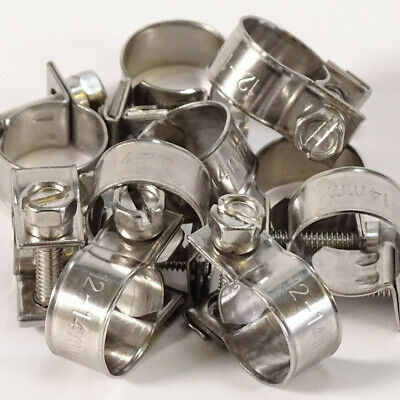 ASH W4 Stainless Steel Fuel Hose Line Pipe Clips Classic Rubber Clamps Clip