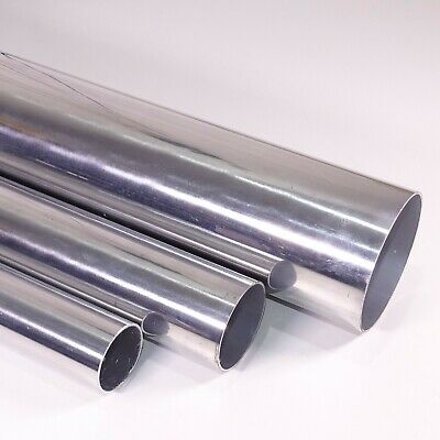 Polished Aluminium Round Tube / Pipe - VARIOUS SIZES - 1 METER LONG