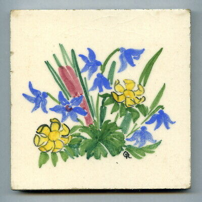 """Handpainted 4""""sq tile from the """"Spring Flowers"""" series by Packard & Ord, c1947"""
